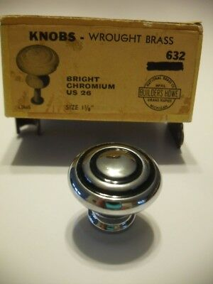"Vtg NOS 1-1/8"" CHROME CABINET DRAWER KNOBS Pulls BLACK concentric Circles rings"