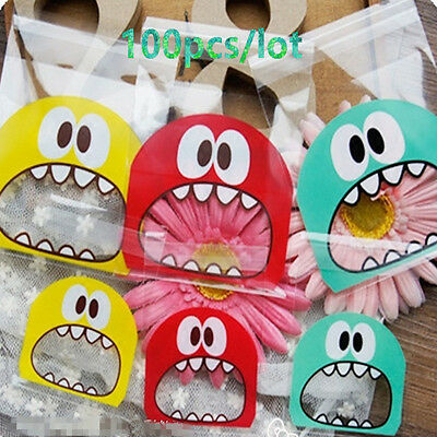 100pcs 7cm&10cm Opp Cute Small Monster Baking Packaging Bags Cookie Candy Bag