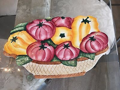 Vintage Italian Ceramic Hand Painted Peppers & Tomato Trivet Or Hang