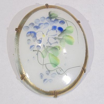 Antique Victorian hand painted porcelain wisteria flower vine oval pin/brooch