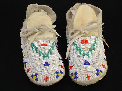 Pair of Sioux beaded child's Moccasins, Native American Indian, circa:1965