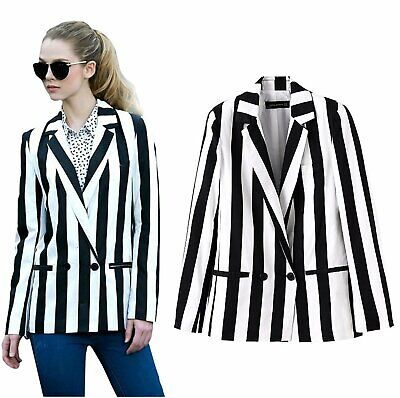 Halloween Costume Black And White Striped Leisure Blazers Jacket Suit Outwear