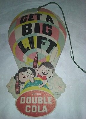 Vintage Double Cola Big Lift Fan Pull Advertising Sign