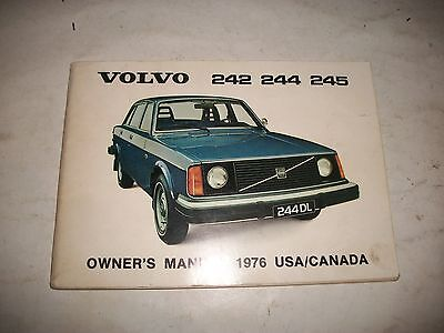Original 1976 Volvo 242 244 245 Owners Manual Operate Service Maintain Clean
