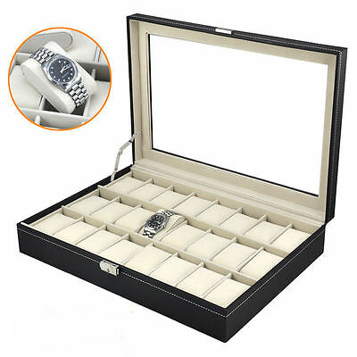 New 24 Grids Leather Watch Display Case Jewelry Collection Storage Holder Box
