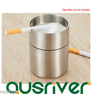 Stainless Steel Cigarette Ashtray Combined Smoke Holder Gift Bar Car Auto Home