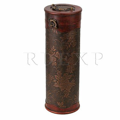 Retro Round Wooden Vintage Wine Bottle Case Holder Storage Box