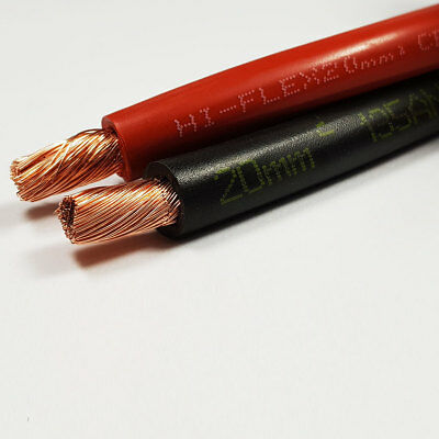 20mm2 135 A Amps Flexible PVC Battery Welding Cable Black Red 10M 10 M ROLL CAR