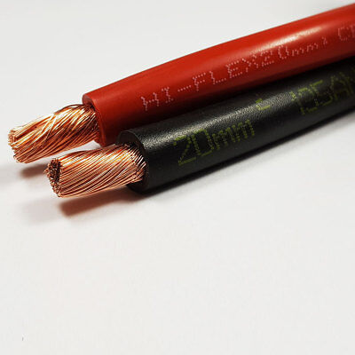 20mm2 135 A Amps Flexible PVC Battery Welding Cable Black Red 50M 50 M ROLL CAR