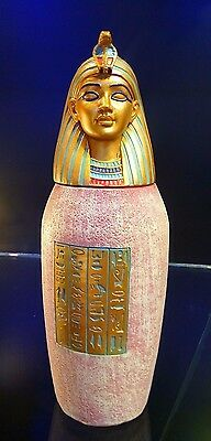 Unique Antique Cleopatra Egyptian Legend Hand Made Vase with Lid Collectable
