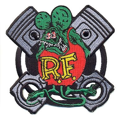 Rat Fink patch badge cross pistons hot rod drag race iron on motorcycle