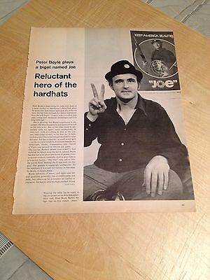 Vintage 1970 Magazine Article - PETER BOYLE - 2-Sided Article