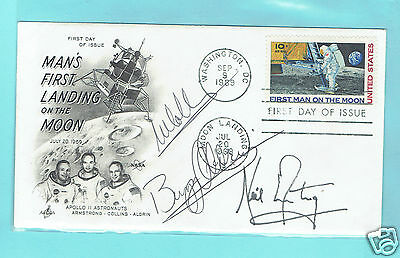 FIRST MEN ON MOON autographs Armstrong Collins Aldrin FDC 1969