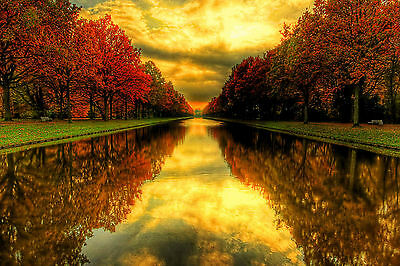 Autumn Reflections River Trees Centre WALL ART CANVAS FRAMED OR POSTER PRINT