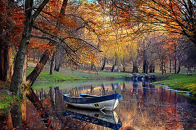 River Boat Trees Autumn Reflect WALL ART CANVAS FRAMED OR POSTER PRINT