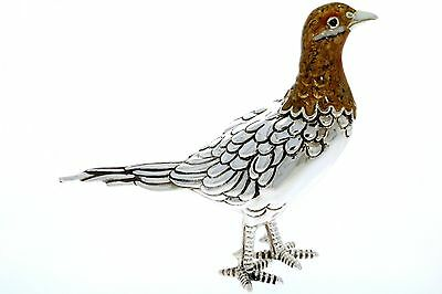 Sterling Silver & Enamel Hen Pheasant by Saturno