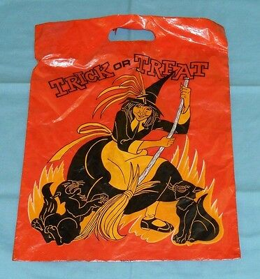 vintage HALLOWEEN TRICK OR TREAT BAG plastic PLAID STAMPS