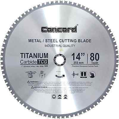 Ferrous Metal Steel Cutting Blade 14-Inch 80 Teeth TCT Saw Titanium Arbor