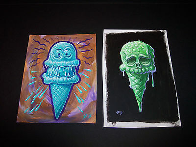 Dave Burke DB ORIGINAL ART ACRYLIC Painting Lot ICE CREAM CONE Fink monster