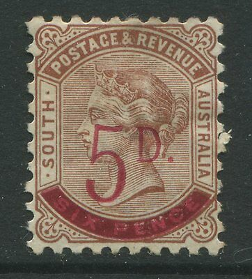 South Australia 1891 5d surcharged on 6d red brown mint o.g. hinged