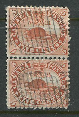 Canada 1859 5 cents vermilion choice VF vertical pair used