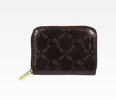 NWT Loungefly Hello Kitty Embossed Zip-Around Faux Patent Leather Wallet - Brown