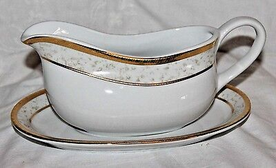 NICE Royal Heritage Porcelain White with GOLD Trim Gravy boat with Underplate