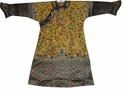An Important Chinese Qing Dynasty yellow Ground Dragon Robe/1