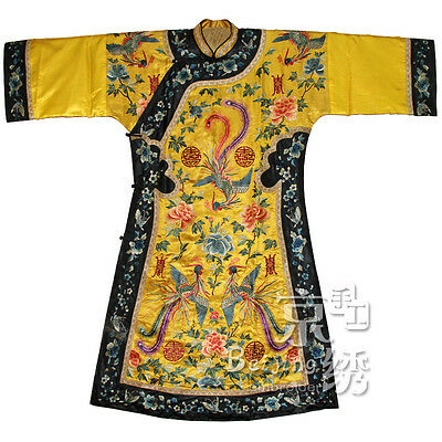 An Important Chinese Qing Dynasty yellow Ground phoenix Robe