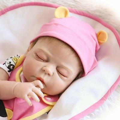 "23""Full Body Silicone Reborn Baby Sleeping Doll Soft Vinyl Lifelike Newborn Girl"
