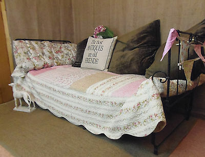 Vintage French day bed, folds up, black wrought iron, fully sprung & on castors