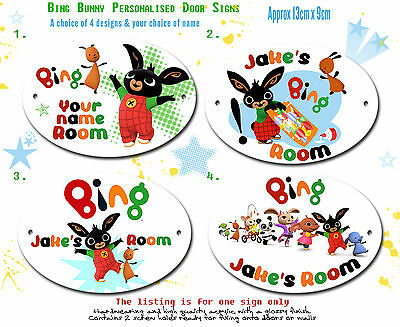 Personalised Bing Bunny Oval Bedroom Door Sign Plaque ANY MESSAGE + NAME Flop