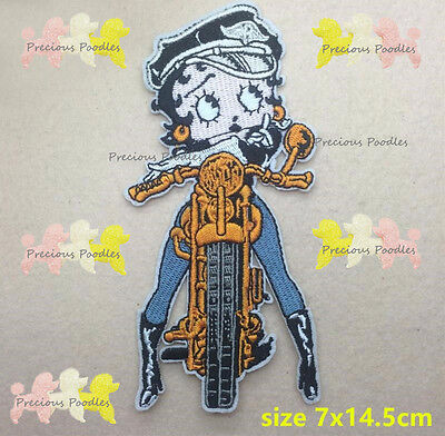 NEW Betty Boop Motorcycle Iron Sew On Embroid'd Patch Biker Bike Lady Rider Cute