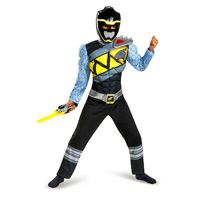 NEW Disguise Black Ranger Dino Charge Classic Muscle KIDS Costume, Small (4-6)