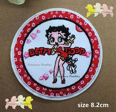 NEW Betty Boop With Dog Pudgy Hanging Off Her Dress~ Patch Iron /Sew On Clothing