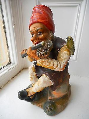 Antique  German  Heissner Garden  Gnome  ~ Playing A Flute - Attractive Figure!