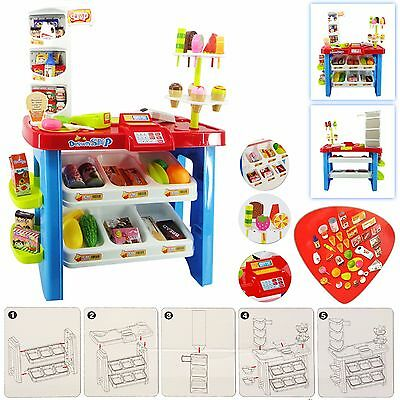 Kids 40pc Light and Sound Supermarket Playset Food Stall Play Set Kitchen Toy