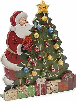 Festive Productions Luxury Hand Painted Wooden Santa and Tree Advent Calendar...