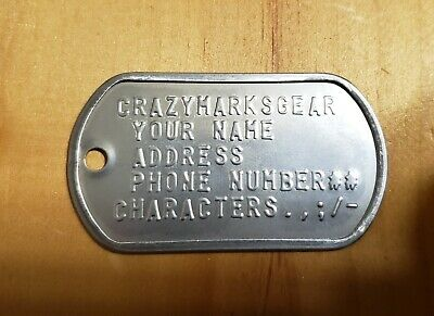 CUSTOM Embossed DOG TAG / TAGS USA STAINLESS STEEL by Military Veteran 5 LINES
