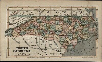 North Carolina state 1854 Phelps charming small antique hand color map