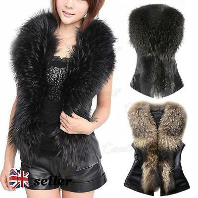 UK Womens Faux Fur Vest Jacket Sleeveless Winter Body Warm Coat Waistcoat Gilet