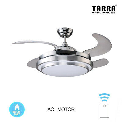 44'' Modern Chrome Round Shaped LED Lights Ceiling Fan with Foldable Blades