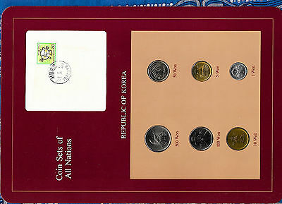 Coin Sets of All Nations Korea 1,5,10,500 Won 1983 50,100 Won 1987 UNC 83.5.20