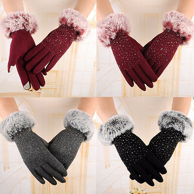 Winter Womens Ladies Fur Touch Screen Pearl Outdoor Sport Snow Warm Gloves New