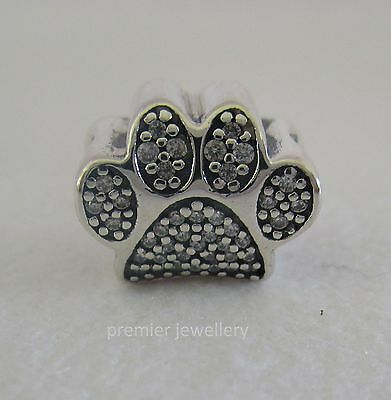 Authentic Genuine Pandora Sterling Silver Paw Print Charm 791714CZ