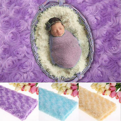 Newborn Fabric Faux Fur Blanket Photo New Baby Soft Photography Basket Prop