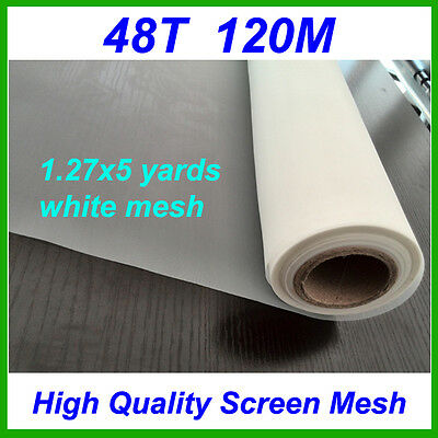 1.27x5 yards 48T 120M white polyester silk screen printing mesh 1.27x5 meters