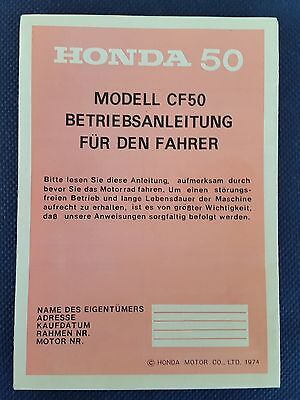 Driver's guide Manual Honda CF 50 NOS from 1974 extreme RARE