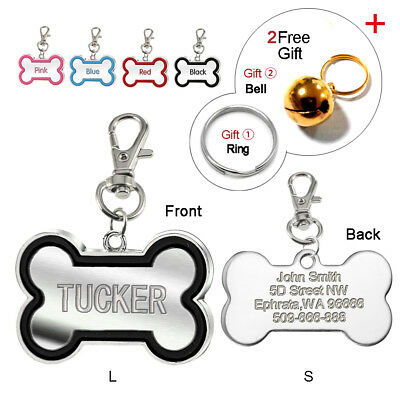 Bone Shape Engraved Dog Tags Disc Cat Collar ID Tag Personalized Name for FREE