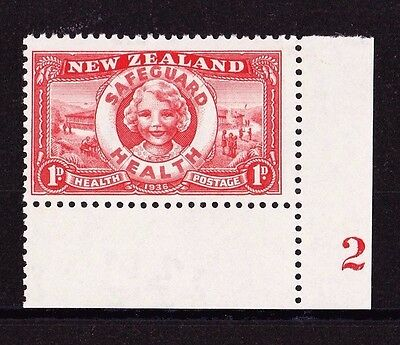 NEW ZEALAND 1936 HEALTH WITH PLATE No. SG 598 MINT.